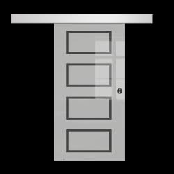 Drzwi Szklane Przesuwne 100 GEO12 SILVER