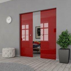 Drzwi Szklane Przesuwne 130(2X65) VSG Czerwone Kaseta