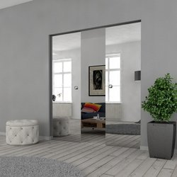Drzwi Szklane Przesuwne 150(2X75) VSG LUSTRO/LUSTRO KASETA