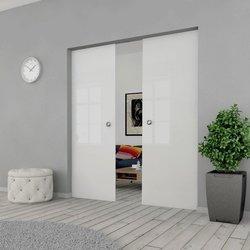 Drzwi Szklane Przesuwne 200(2X100) GEO SATYNA KASETA