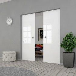 Drzwi Szklane Przesuwne 200(2X100) VSG BIAŁE FLOAT KASETA