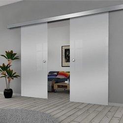 Drzwi Szklane Przesuwne 210(2X105) GEO SATYNA SILVER