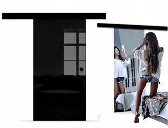 Drzwi Szklane Przesuwne 65 LUSTRO/CZARNE NERO