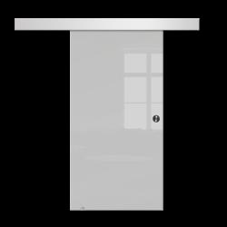 Drzwi Szklane Przesuwne 650X2095 8MM ESG GEO SATYNA + SYSTEM PRZESUWNY