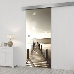Drzwi Szklane Przesuwne 95 GR-H04 SILVER