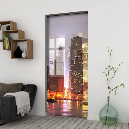 Drzwi Szklane Przesuwne 1050X2095 8MM ESG/VSG GRAFIKA 2STR GR-H011 + KASETA