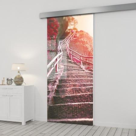 Drzwi Szklane Przesuwne  650X2095 8MM ESG/VSG GRAFIKA 2STR GR-H010 + SYSTEM PRZESUWNY