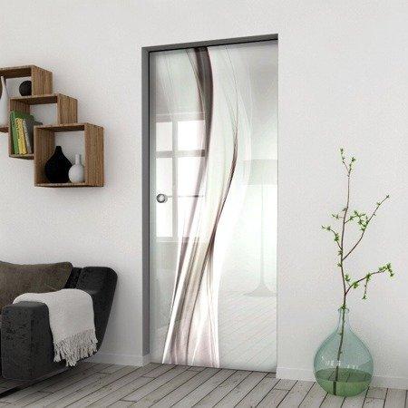 Drzwi Szklane Przesuwne 650X2095 8MM ESG/VSG GRAFIKA 2STR GR-H016 + KASETA
