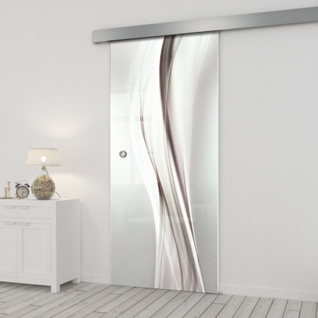 Drzwi Szklane Przesuwne 650X2095 8MM ESG/VSG GRAFIKA 2STR GR-H018 + SYSTEM PRZESUWNY