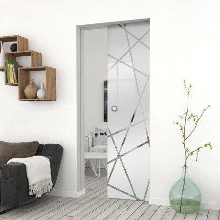 Drzwi Szklane Przesuwne 750X2095 8MM ESG GEO6 + KASETA
