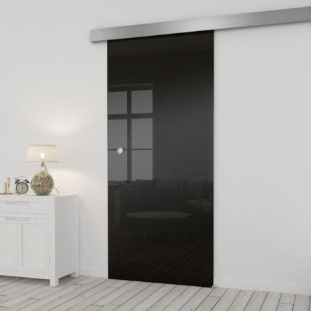 Drzwi Szklane Przesuwne 750X2095 8MM ESG/VSG CZARNE+ SYSTEM PRZESUWNY