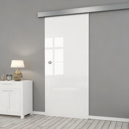 Drzwi Szklane Przesuwne 750X2095 8MM FLOAT ESG/VSG BIAŁE + SYSTEM PRZESUWNY