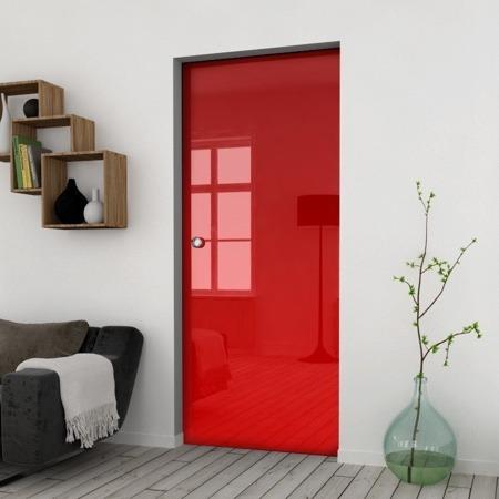Drzwi Szklane Przesuwne 950X2095 8MM ESG/VSG CZERWONE+ KASETA