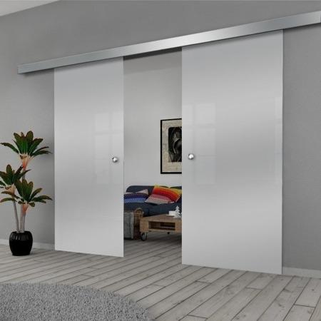 Drzwi Szklane Przesuwne PODWÓJNE 1500X2095 8MM ESG GEO SATYNA + SYSTEM PRZESUWNY