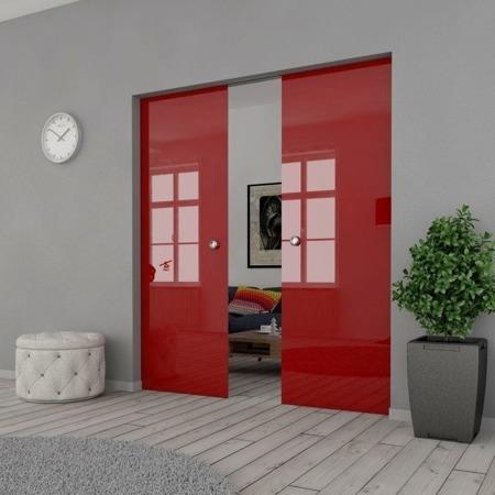 Drzwi Szklane Przesuwne PODWÓJNE 1700X2095 8MM ESG/VSG CZERWONE+ KASETA
