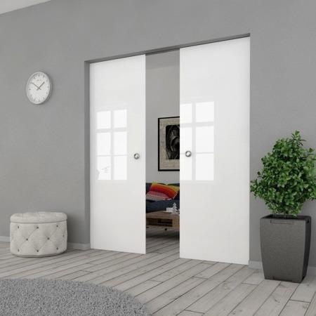 Drzwi Szklane Przesuwne PODWÓJNE 2100X2095 8MM FLOAT ESG/VSG BIAŁE + KASETA
